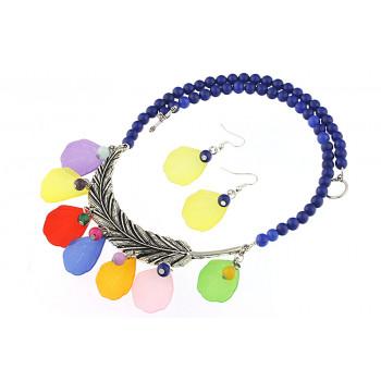 Set salba multicolora cu jad albastru