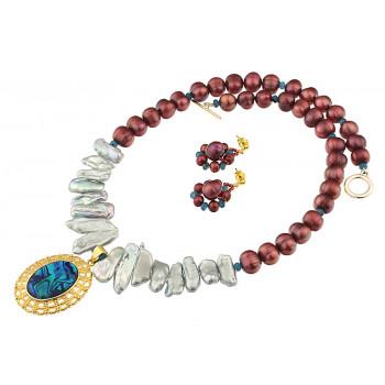 Set sidef albastru Paua, perle naturale Biwa si  baroc