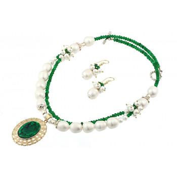 Set sidef verde Paua, perle naturale 12-13 mm si jad