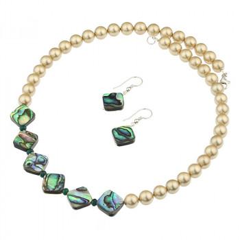 Set sidef Paua, perle de Mallorca aurii si argint