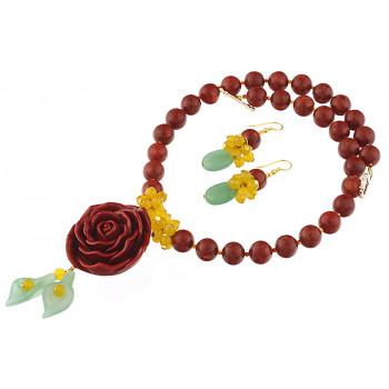 Set trandafir coral, aventurin si jad