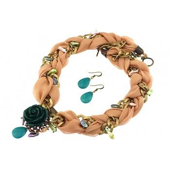 Set trandafir verde, perle Biwa si matase somon