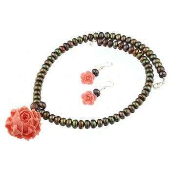 Set trandafiri coral roz, perle de cultura si argint