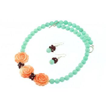 Set trandafiri coral si jad cyan