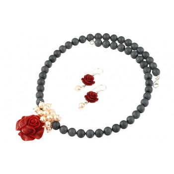 Set trandafiri coral, perle de Mallorca si argint
