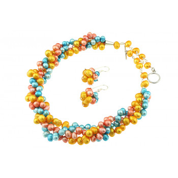 Set trei siraguri din perle de cultura multicolore