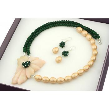 Set unicat din opal de Peru, jad si perle de Mallorca