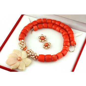 Set exclusivist din opal de Peru, coral portocaliu si perle