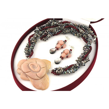 Set unicat opal de Peru, perle keishi si jad rubiniu