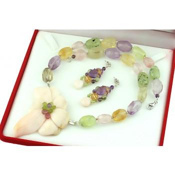 Set unicat floare opal de Peru si cuarturi calitate AAA