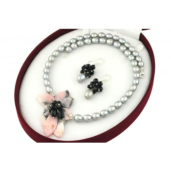 Set unicat opal de Peru,turmalina, onix si perle argintii