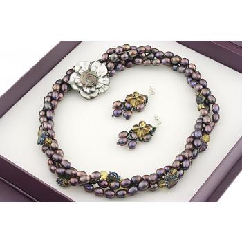 Set versatil din perle naturale, citrin si cuart