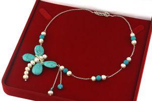 Colier libelula din turcoaz, perle naturale si argint