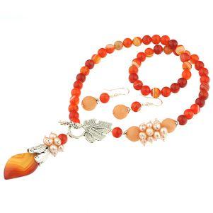 Set asimetric agat lace, jad si perle naturale