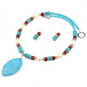 Set din turcoaz, perle naturale si coral rosu