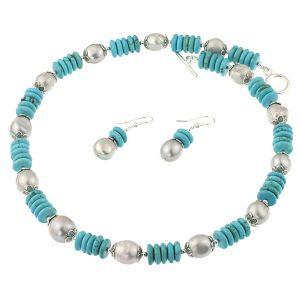 Set din perle de cultura Biwa argintii si turcoaz