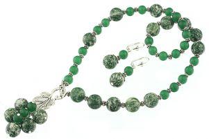 Set asimetric din tree agat si jad verde