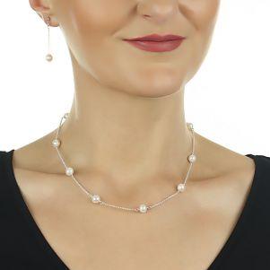 Set delicat din argint si perle naturale albe