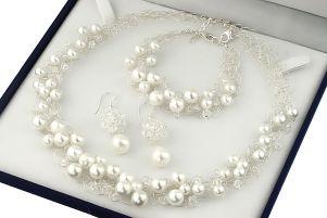Set perle de Mallorca, cristale Swarovski si argint