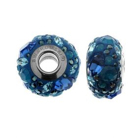 Charm din argint si Swarovski Elements Blue