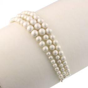 Bratara multisir perle de Mallorca albe si argint