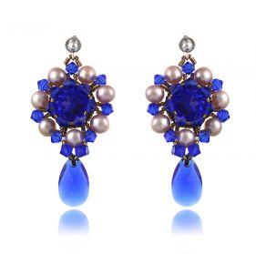 Cercei exclusivisti din perle naturale si cristale Swarovski Majestic Blue