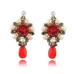 Cercei exclusivisti din perle naturale si cristale Swarovski Light Siam