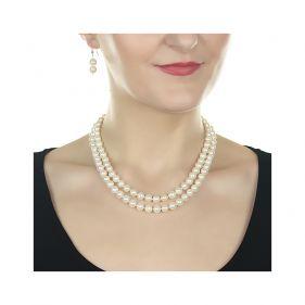 Set perle naturale albe 8 - 9 mm AA si argint