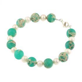 Bratara din perle naturale, jasp si argint