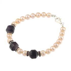 Bratara ametist, rhinestone si perle naturale