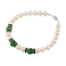 Bratara jad verde, rhinestone si perle naturale