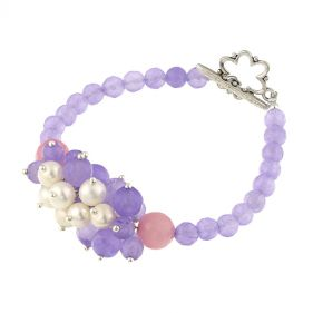Bratara din jad lila si perle naturale albe