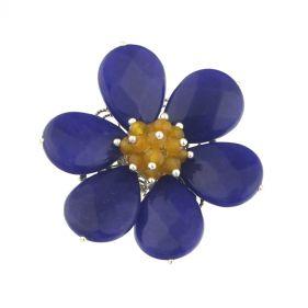 Brosa floare din jad albastru si jad galben