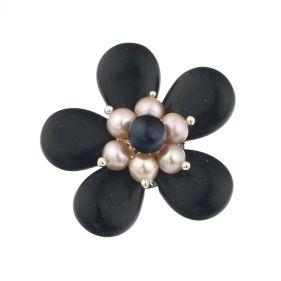 Brosa din Bluestone si perle naturale