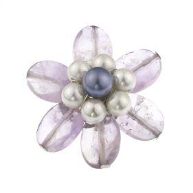 Brosa floare din ametist si perle de Mallorca