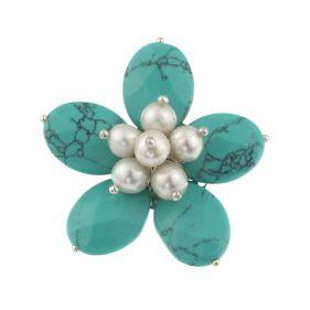 Brosa floare din turcoaz si perle naturale