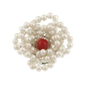 Brosa din perle naturale albe si perla de Mallorca rosie