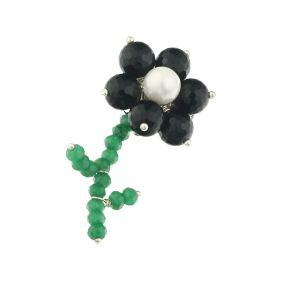 Brosa floricica din onix, jad verde si perla de Mallorca