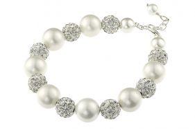Bratara perle de Mallorca albe si rhinestone Clear