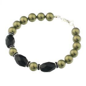 Bratara din perle de Mallorca oliv si onix
