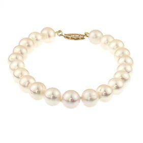 Bratara perle naturale albe 8 - 9 mm AA si inchizatoare aur 14K