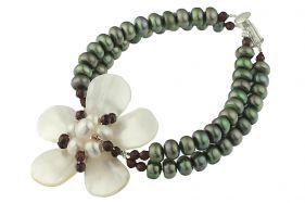 Bratara floare din sidef, perle de cultura si granat