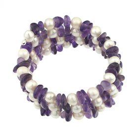 Bratara multisir din perle naturale albe si ametist
