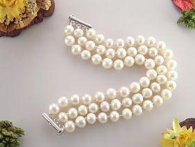 Bratara trei siraguri din perle naturale 8 - 9 mm AA si argint
