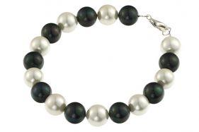 Bratara perle de Mallorca albe-negre si argint