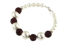 Bratara perle de Mallorca albe si rhinestone grena