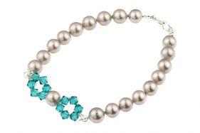 Bratara perle de Mallorca gri si cristale Swarovski