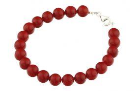 Bratara perle de Mallorca rosii si argint