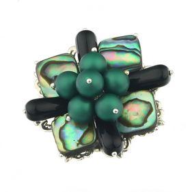 Brosa din sidef Paua, onix si perle de Mallorca
