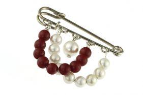 Brosa perle de Mallorca albe si rosii